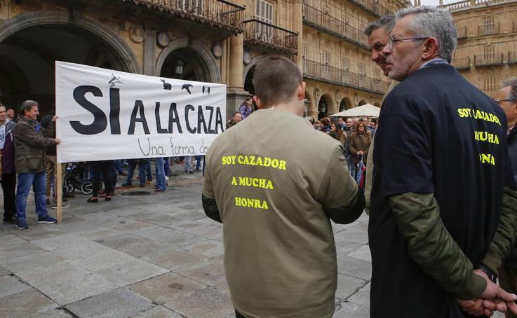 Manifestación de cazadores en Salamanca