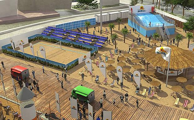 Simulación de la playa artificial de Madrid. /R. C.
