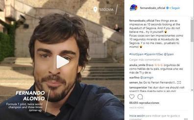 Fernando Alonso promociona el Acueducto con un croma, y las redes se lo afean