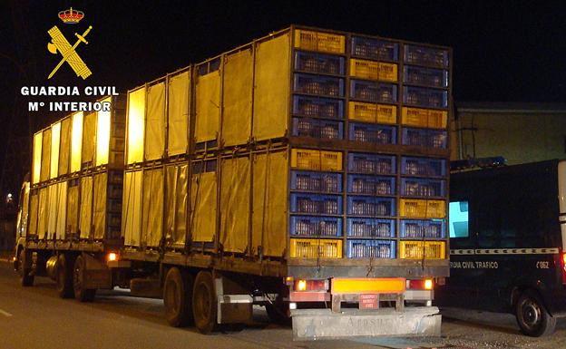 La Guardia Civil detiene un camión con pollos vivos que superaba más del 22% el peso permitido