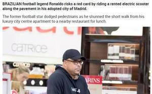 La prensa inglesa 'caza' a Ronaldo en patinete eléctrico por una acera de Madrid