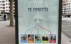 Las paradas de autobús de Burgos anuncian los destinos del aeropuerto de Vitoria