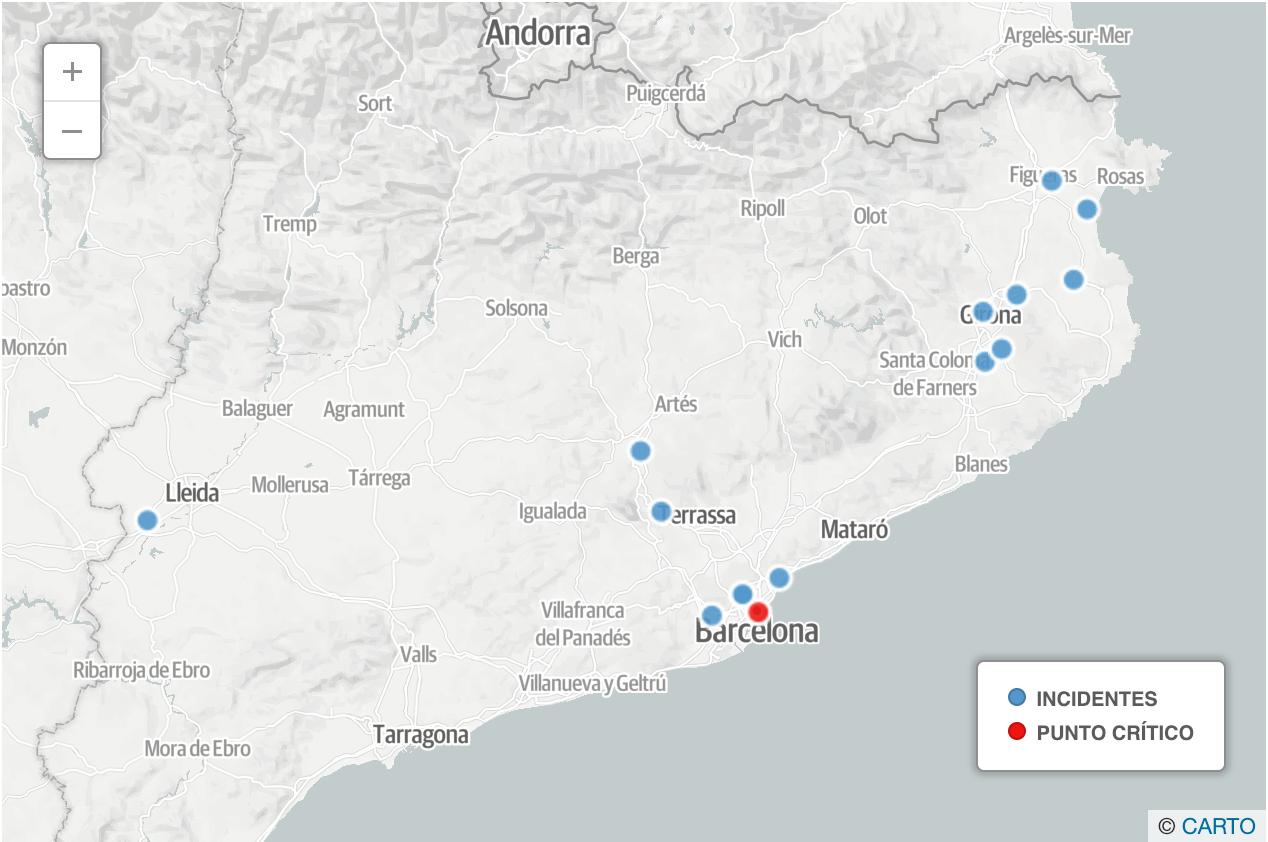 El mapa de los incidentes de los CDR contra el Consejo de Ministros