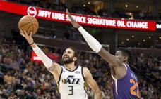 Ricky Rubio brilla en la victoria de los Jazz ante los Suns