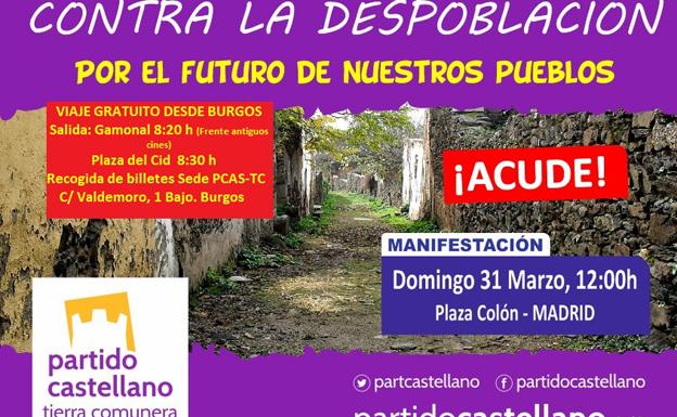 El PCAS-TC llama a una presencia masiva en la manifestación de la España Vaciada el domingo en Madrid