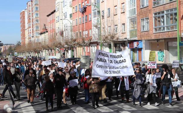Imagen de una de las manifestaciones por la sanidad celebrada en Burgos. /Patricia Carro