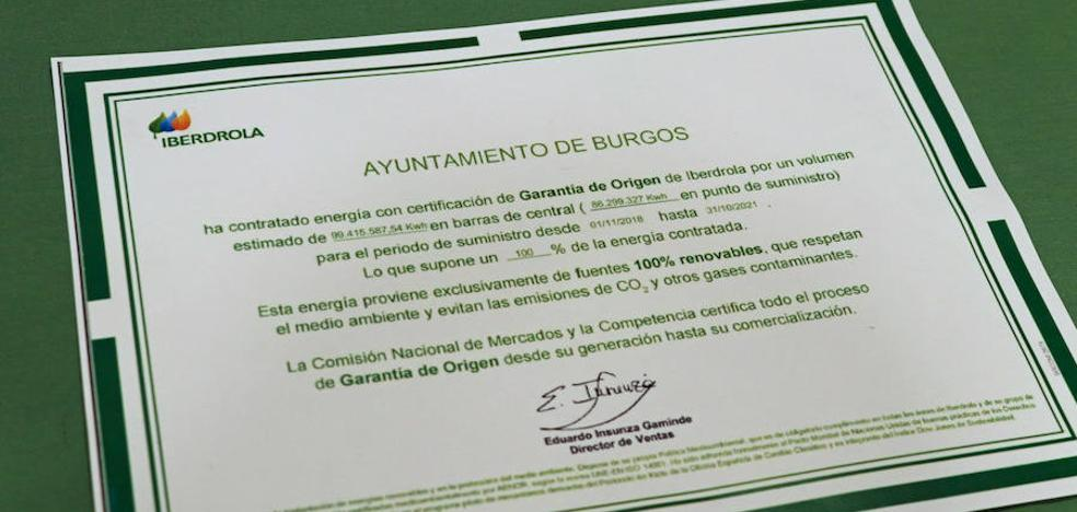 El Ayuntamiento de Burgos emitirá 37.000 toneladas menos de CO2 al consumir energía de fuentes renovables