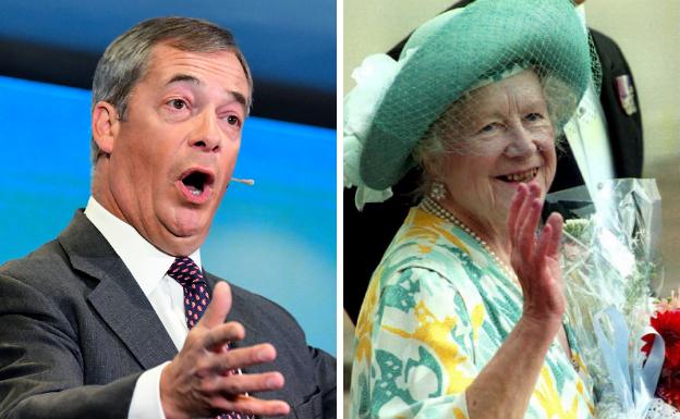 Farage se burla de la reina madre de Inglaterra por su «sobrepeso»