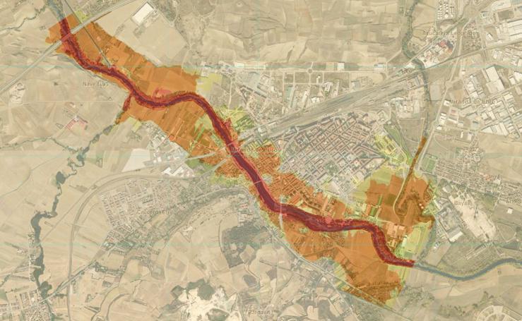 Principales zonas potencialmente inundables de la cuenca del Ebro