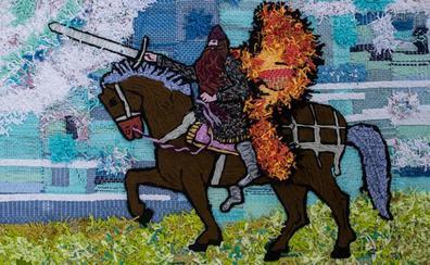 La asociación Berbiquí presenta un gran mural textil con la imagen del Cid en la biblioteca del Teatro Principal