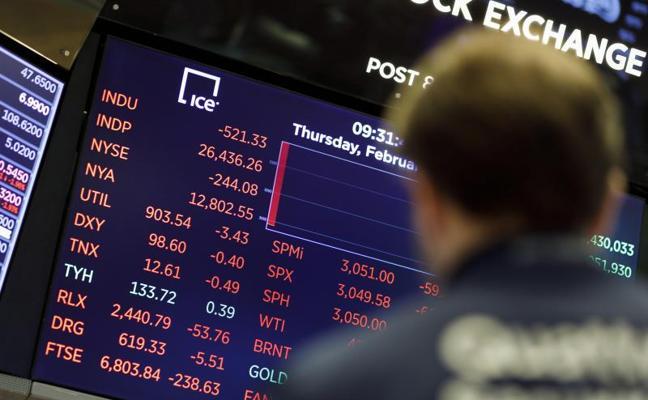 El Ibex-35 relaja hasta el 2,5% sus caídas a media sesión, pero Wall Street promete otro día a la baja